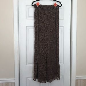 H&M Wide Leg Flowy Palazzo Pants - Brown and Cream